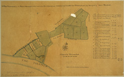 A map of meadows lett by lease to the Governour and Company of Chelsea Waterworks in the year 1727